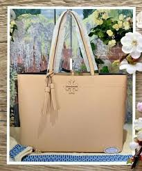 nwt tory burch mcgraw tote large shoulder bag in devon sand pebbled leather