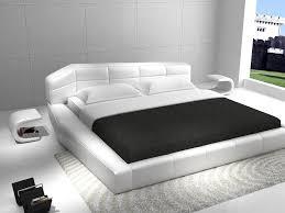 rishon king size modern design white leather platform bed