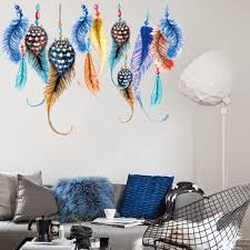 living room wall stickers india. candy color feather wall sticker indian style bedroom sofa background colorful decor 30x90cm nice creative covering art stickers for walls living room india t