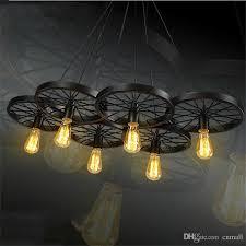 loft retro iron light bicycle wheels pendant lights vintage ceiling lamp e27 vintage light bulb st64 edison bulb pendant light droplight ceiling light shade