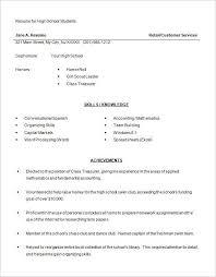 Simple Resume Examples High School - Best Sample Resume Template ...