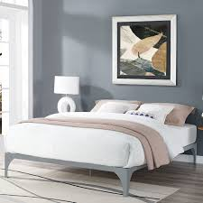 Steel Bedroom Furniture Contemporary Full Sized Bed Frame Metal Steel Material Solid Wood
