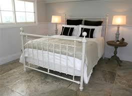 Image of: Design of White Metal Bed Frame Queen