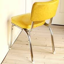 Yellow and Chrome Kitchen Dinette Chair Mid Century Vintage