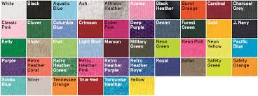Fruit Of The Loom T Shirt Color Chart Fruit Of The Loom Colors Arts Arts