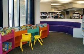 library furniture behind brightly coloured children s library shelving that is a low height
