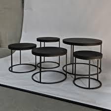 round black belgian oak top side table omero home