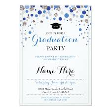 Polka Dot Invitations Graduation Blue Silver Party Polka Dot Invite