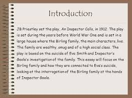 an inspector calls jb priestley ppt  introduction