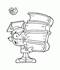 Small Picture School Boy with Big Books coloring page for kids back to school