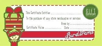 Printable Christmas Gift Certificate Gift Card Template Elf