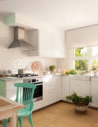 Cocinas Blancas Y Verde Agua Cocina Blanca Peque A En L Con Office .