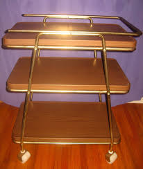 Antique Metal Kitchen Table Vintage Metal 3 Tier Rolling Kitchen Utility Cart Midcentury