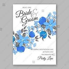 Anniversary Template Blue Floral Vector Background Wedding Invitation Card Template