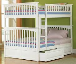 Kids Room Large White Double Over Double Bunk Bed With Drawer  Within Double  Bunk Beds