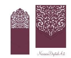 Half Fold Card Template Wedding Invitation Pocket Envelope Half Fold Card Svg Template