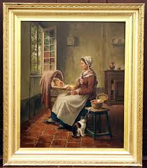 fine 19th c french genre oil painting on wood panel of a woman with a baby by a window in an interior setting signed lower left by artist c petit