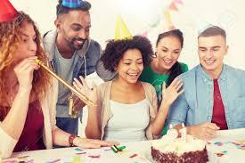 Office Birthday Team Greeting Colleague At Office Birthday Party Lizenzfreie Fotos