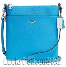 COACH 52348 N S Swingpack Messenger Crossbody Bag Silver Azure Blue NWT   Coach  MessengerCrossBody