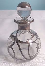 antique art nouveau glass perfume bottle clear with silver overlay
