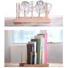 Wooden Book Display Stand New Multifunction Wooden Plate Rack Wood Stand Books CD Display 49
