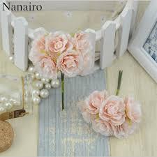 Paper Flower Wedding Decorations 6pcs Lot Mini Silk Artificial Rose Flowers Bouquet Wedding
