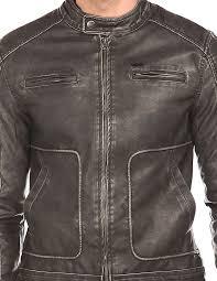 flying machine men washed faux leather biker jacket