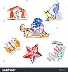 Sledstar Designs Christmas Retro Sketch Doodles Elements Sled Stock Vector