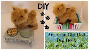 how to make dog bed and dog bowl for water and food american girl doll diy craft