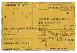 lot detail driver license application signed filled out by driver license application signed filled out by jackie kennedy in 1968