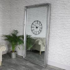 extra extra large full length ornate silver wall leaner mirror 119cm x 220cm