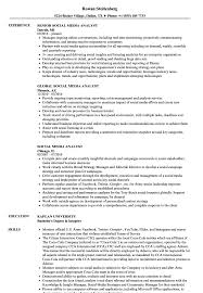 Social Media Analyst Sample Resume Social Media Analyst Resume Samples Velvet Jobs 1