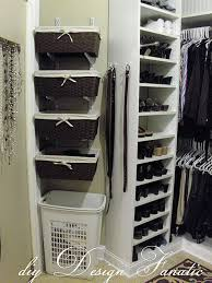 add space to your master closet unused wall and put some simple baskets