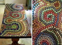 bottle cap furniture. use your existing bottlecap collection or start one to decorate coffee table with a bottle cap mosaic pattern you can make rigid square shapes furniture