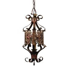 sold marvelous antique spanish revival wrought iron pendant light
