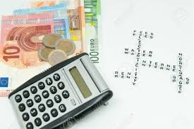 Household Expenses Calculator Euro And Calculator And Words Representing Household Monthly