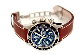 liberty hand made brown leather watch deployment clasp for breitling superocean