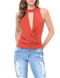 Haoduoyi Size Chart Asmax Haoduoyi Womens Basic Cut Out V Neck Wrap Top Tank At