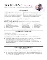 Interior Design Sample Resume Resumes Objectives Format For