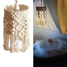 Boho Light Shade Boho Home Decor Macrame Cotton Yarn Hand Woven Hanging Lamp