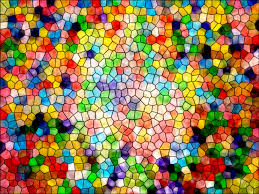 Colorful image of an abstract stained glass mosaic