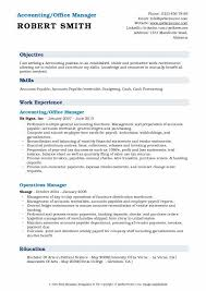Sample Accounting Resume Objective Accounting Office Manager Resume Samples Qwikresume