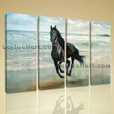 large canvas print artwork modern home decor wall art black horse painting