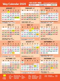 2020 Way Calendar Feng Shui Master Singapore Chinese