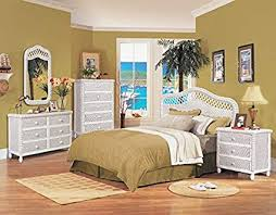 Amazon.com: White Wicker 4 piece Bedroom Set, Santa Cruz, includes ...
