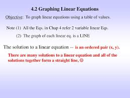 4 2 graphing linear equations objective to graph linear equations using a table of values