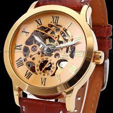 mens watches usa u s a men luxury stainless steel automatic mechanical skeleton leather watch