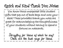Quick And Kind Thank You Notes From You To Your Student By