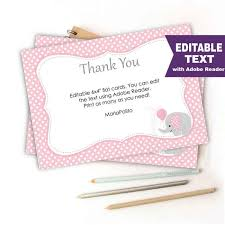 Thank You Cards Baby Shower Editable Elephant Thank You Cards Editable Text Printable Baby