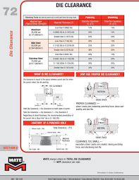 Wilson Tool Die Clearance Chart Die Clearance Material Thickness T Total Clearance Tc